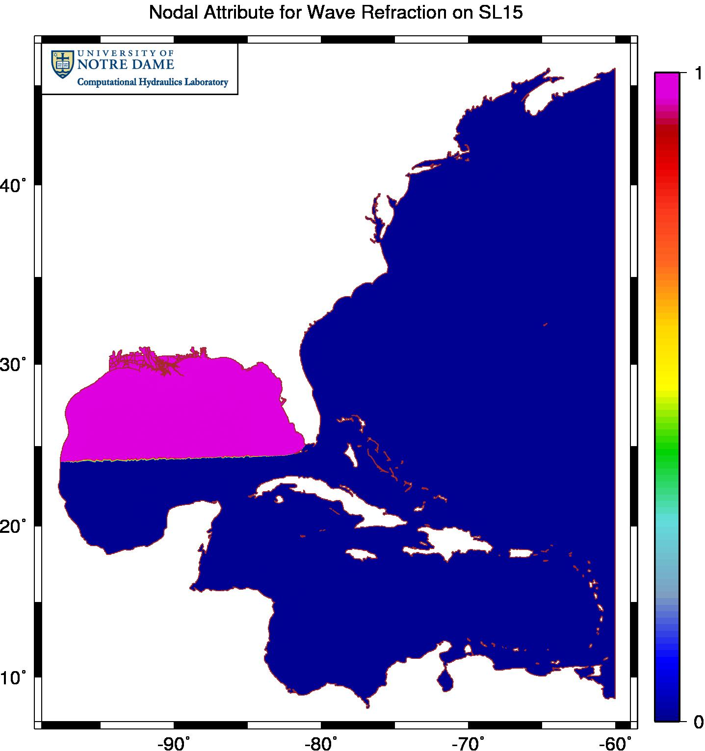Example of enabling wave refraction only near the region of interest in the northern Gulf of Mexico.