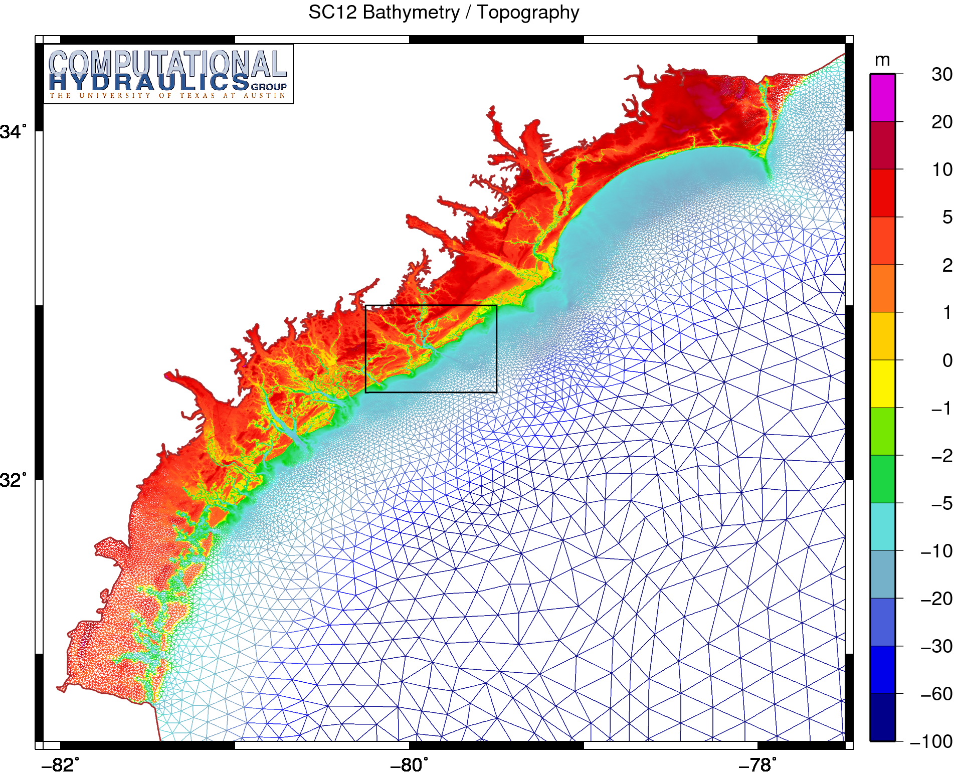 Bathymetry and topography (m) on the SC12 unstructured mesh.