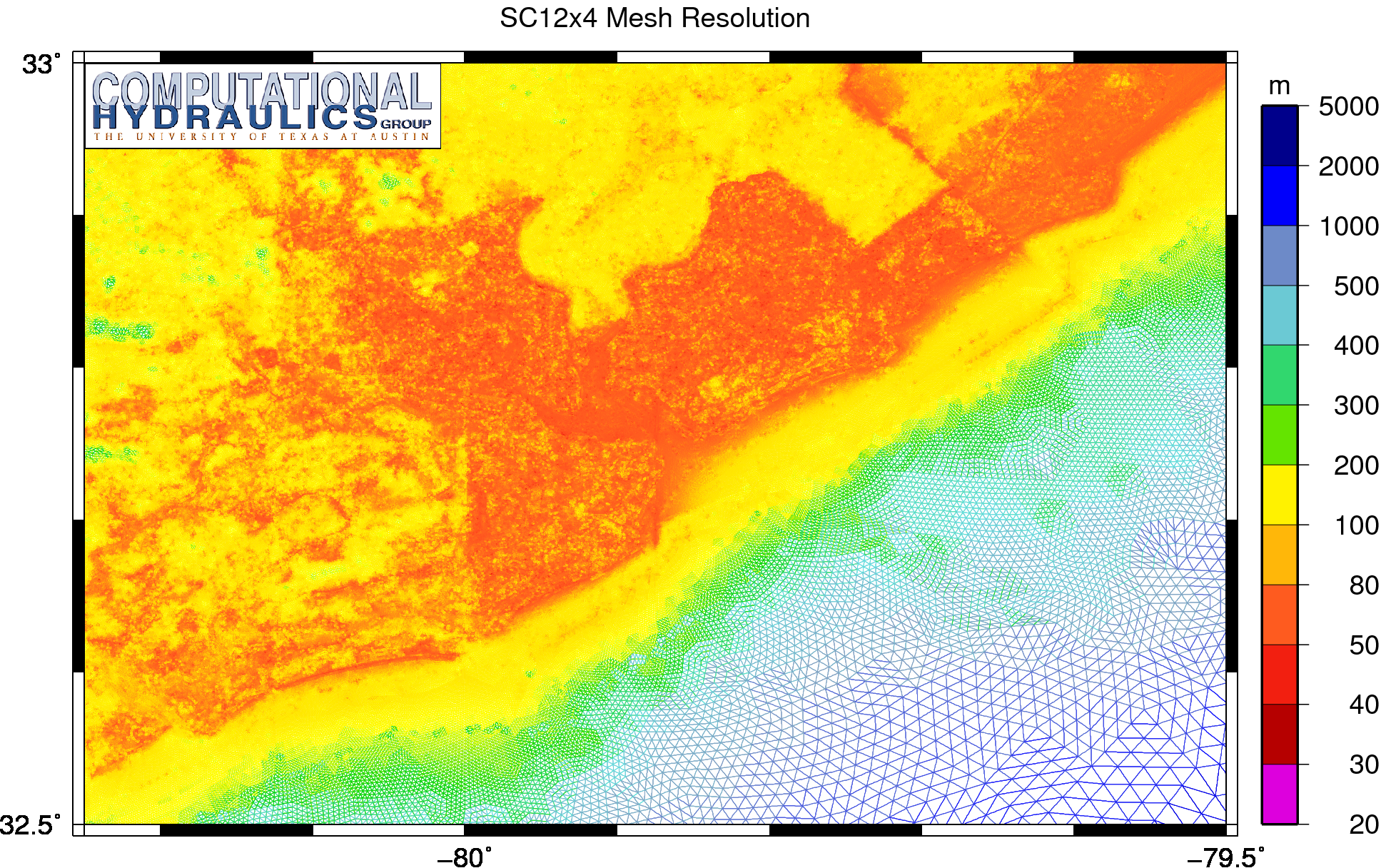 Unstructured mesh resolution (m) on the SC12x4 mesh, in which the elements have been split by four to better represent the region near Charleston, South Carolina.