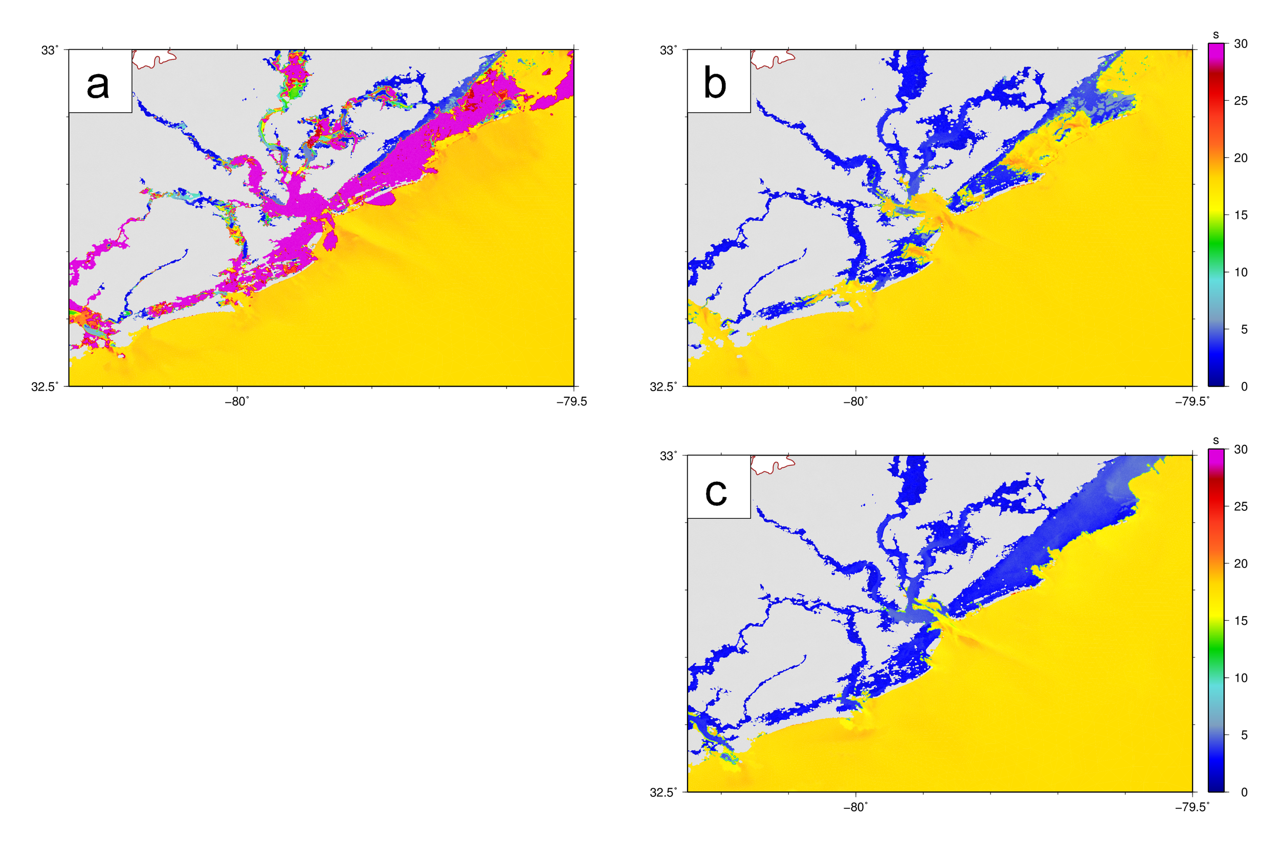 Maximum values for peak wave periods (s) near Charleston Harbor during the Hugo hindcast on the SC12 mesh.  The peak periods are shown: (a) with unlimited spectral propagation velocities, (b) with both velocities limited with CSIGMA CFL=0.25 CTHETA CFL=0.25, and (c) with the updated treatment of the propagation velocities.