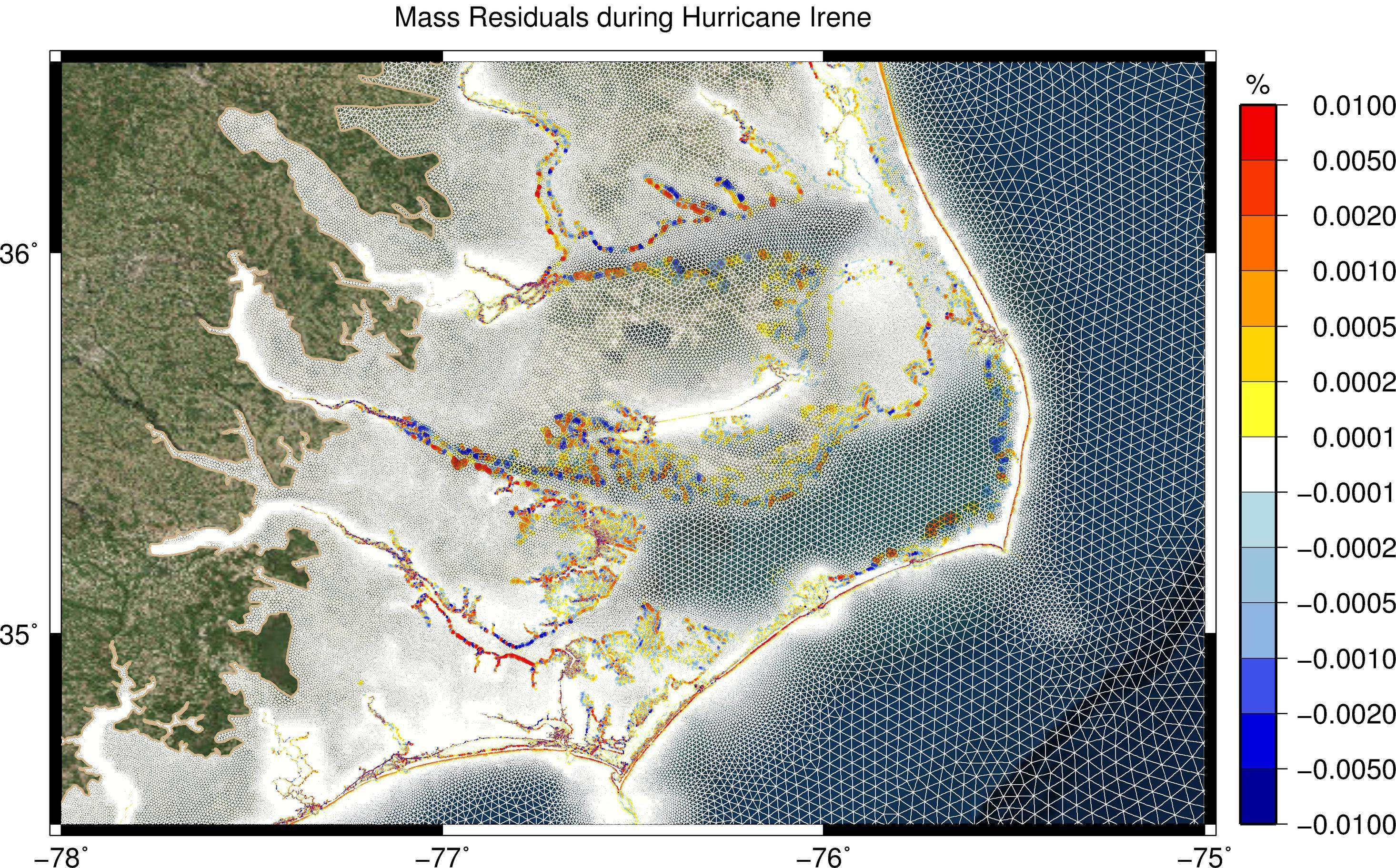Mass residuals (as percentage of still-water volume) during Hurricane Irene (2011).