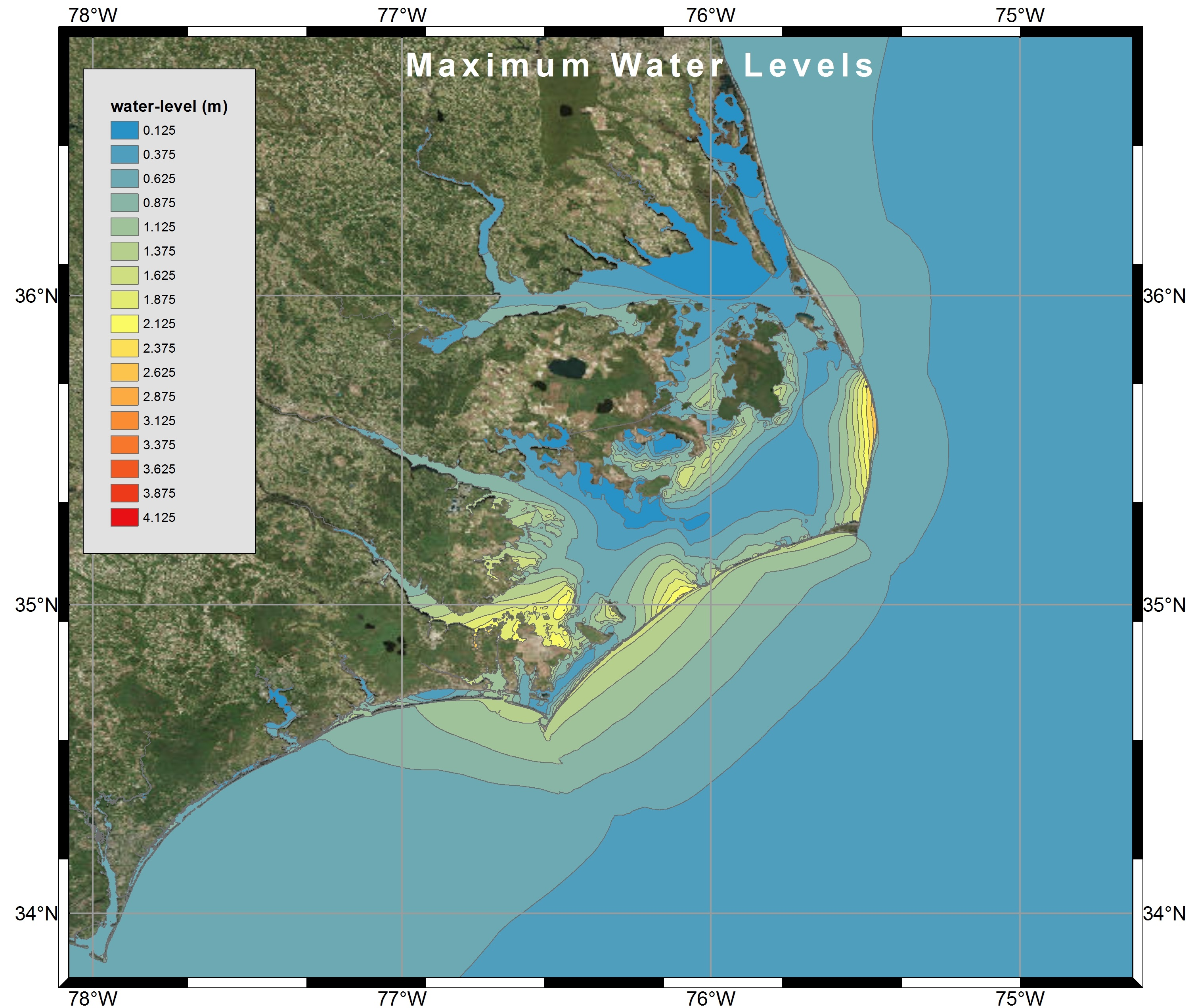 Visualization of Maximum Water Levels along the North Carolina coast during Hurricane Arthur (2014) using polygon shapefiles created by Kalpana with ArcGIS satellite imagery.